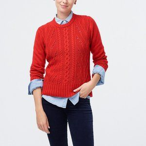 NEW J. Crew Pointelle Cable Front Pullover Sweater